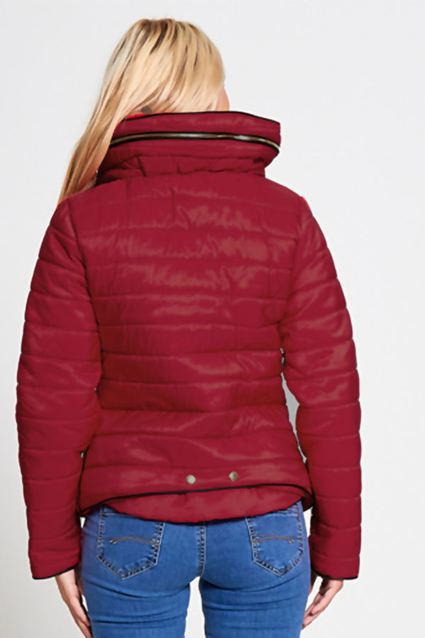 Wine Quilted Padded Puffer Bubble Fur Collar Jacket Size S