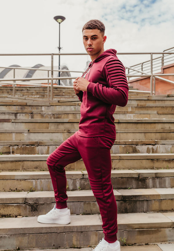 Wine Ribbed Floral Embroidered Pullover Tracksuit