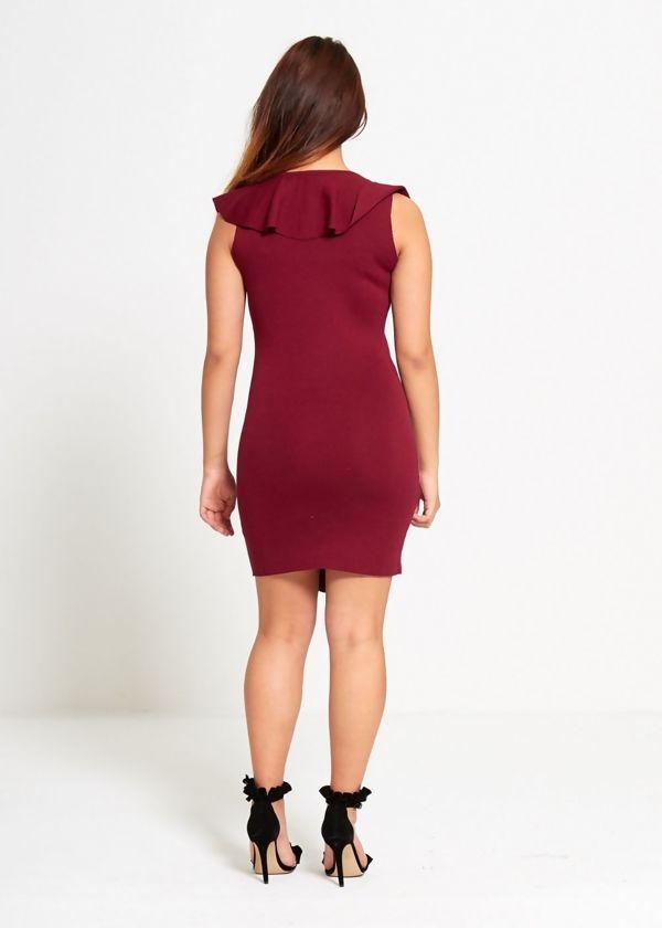Wine Ribbed Frill Mini Dress