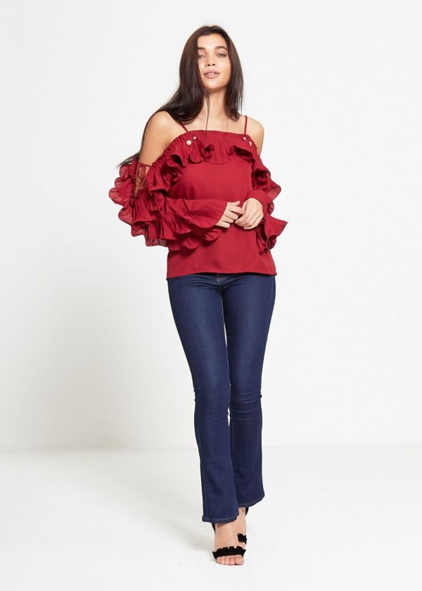 Wine Strap Pearl Ruffle Sleeve Top