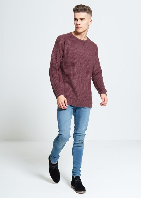 Wine Twist Zipper Jumper