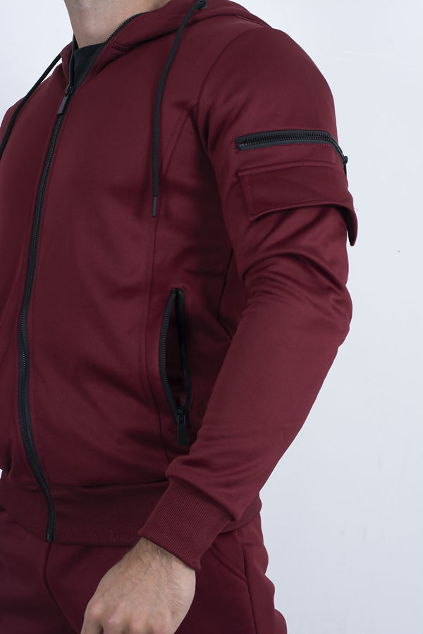 Wine Utility Hooded Tracksuit With Zip Detail