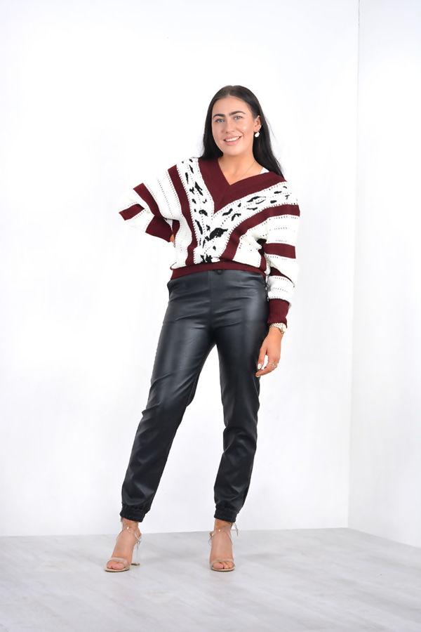 Khaki V Neck Vintage Striped Knit Jumper
