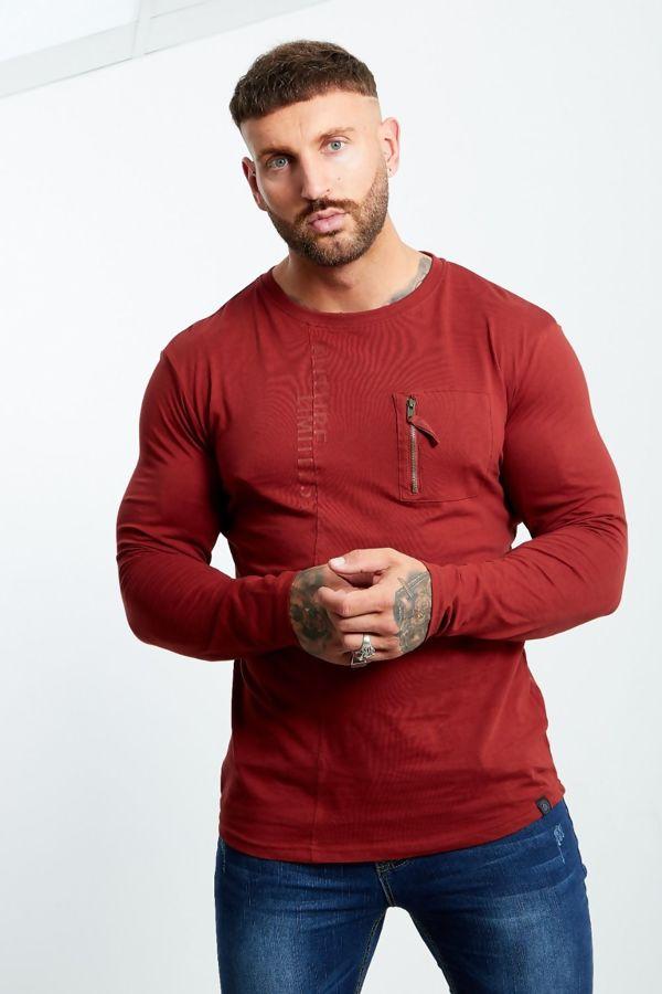 Wine Zip Pocket Front Long Sleeve T-shirt