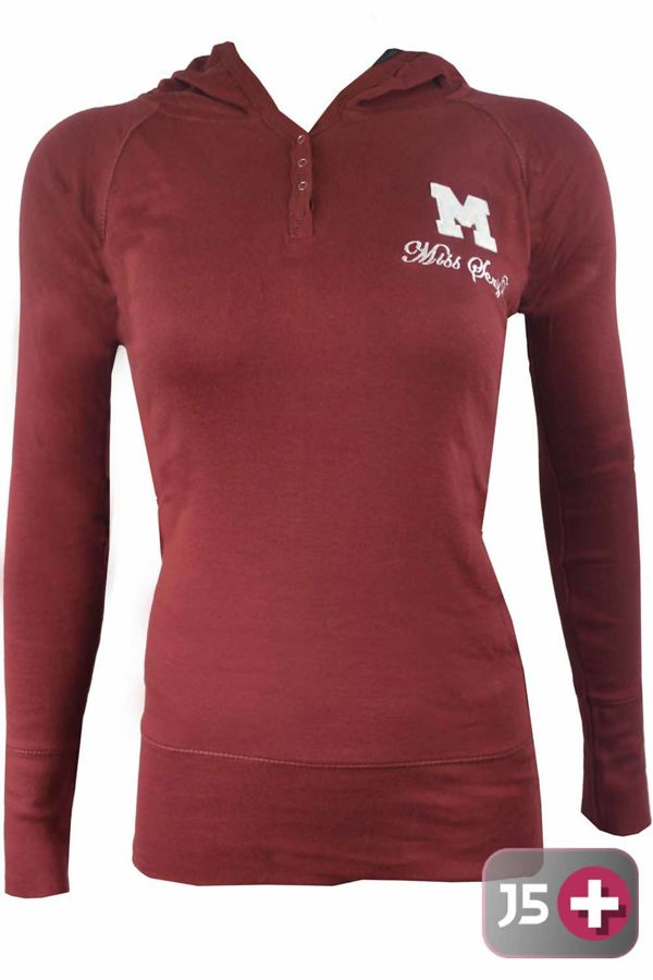 Plus Size Wine Hooded Plain Cotton Jumper Top