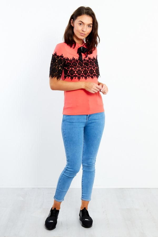 Coral Floral lace front With Broach
