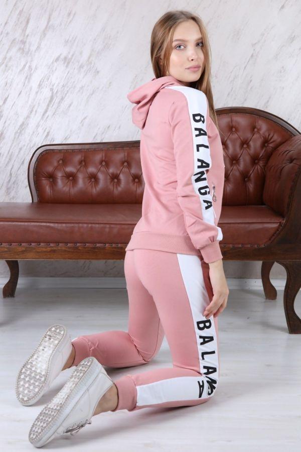 Pink Slogan Print Contrast Panel Tracksuit