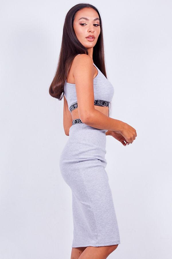 White Logo Trim Ribbed Crop Top And Skirt Set