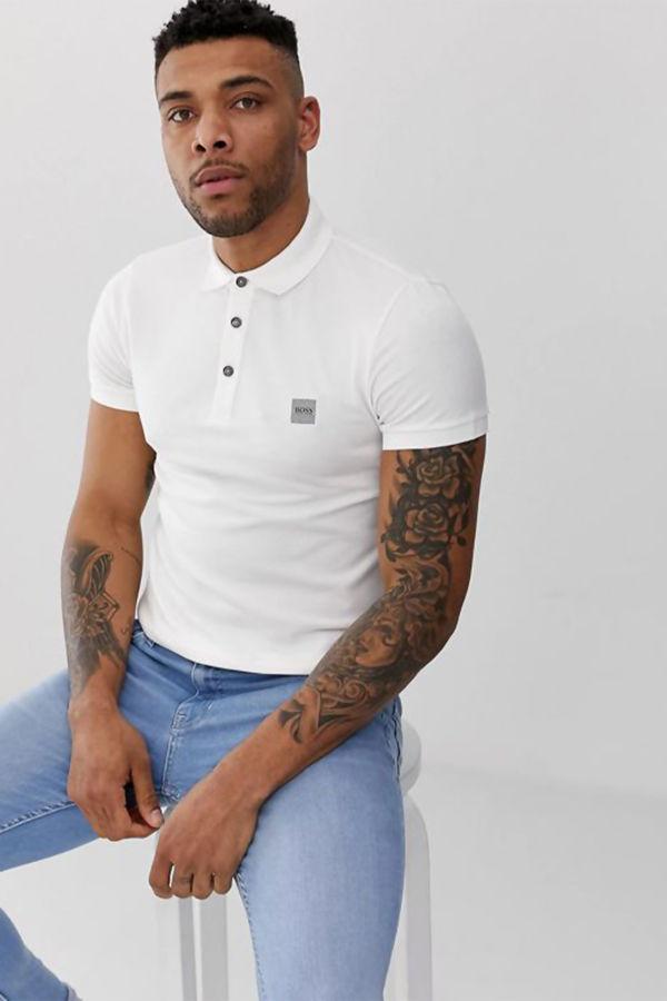 White BOSS Passenger Slim Fit Logo Polo