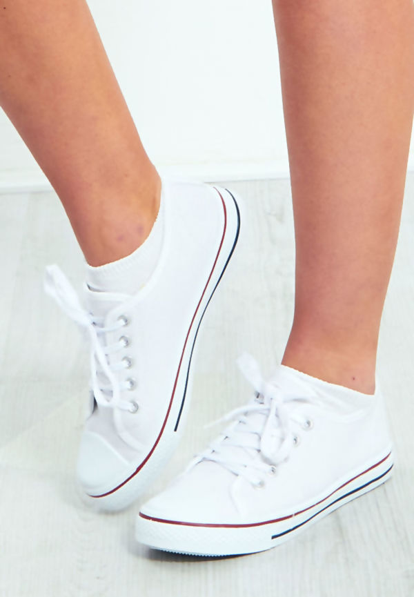 White Canvas Flat Lace Up Trainers