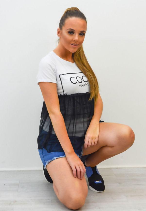 White Coco Wahine Mesh Overlay T-Shirt Top
