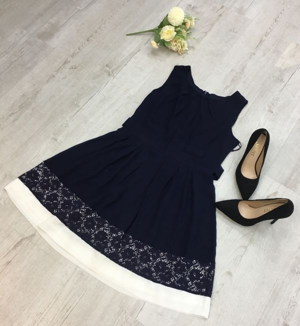 White Contrast Navy Skater Lace Dress