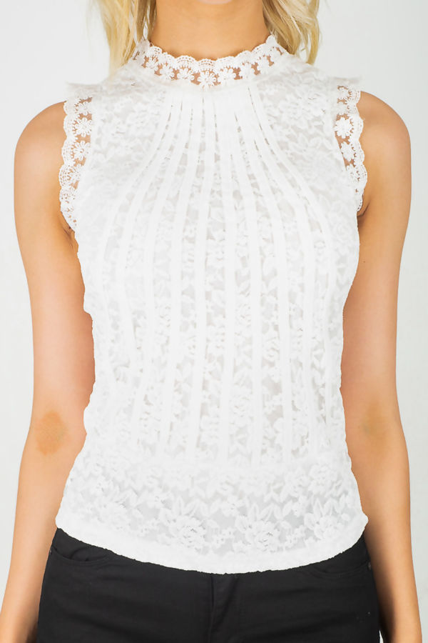 White Crochet Lace Top