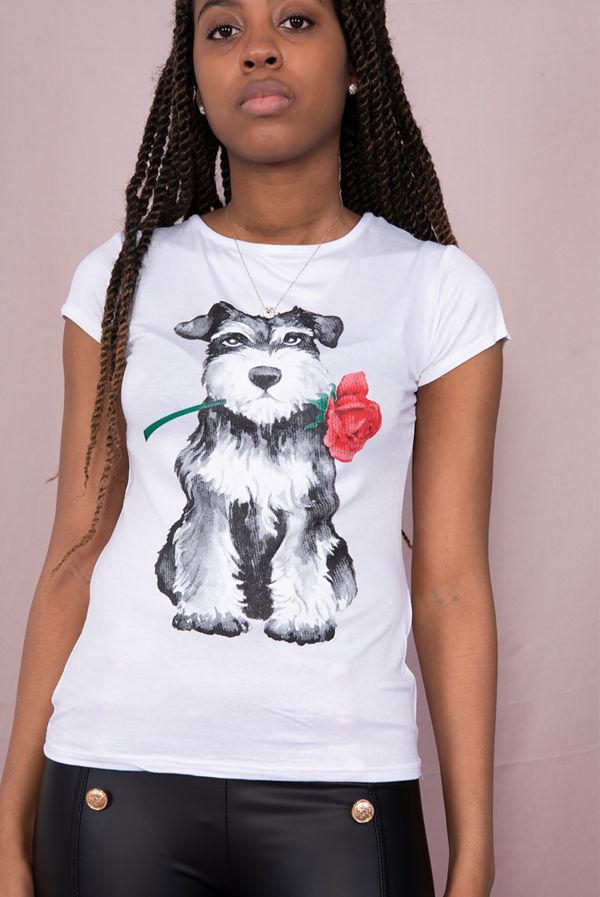 White Cute Rose Dog Printed Tee