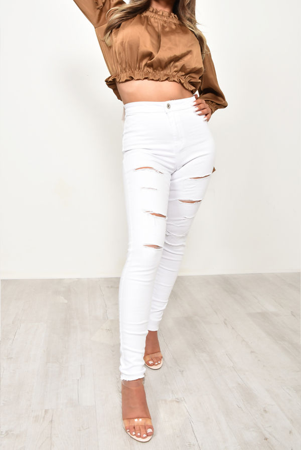White Distressed Disco Skinny Jean
