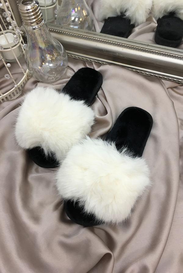 White Fluffy Faux Fur Slider Slippers