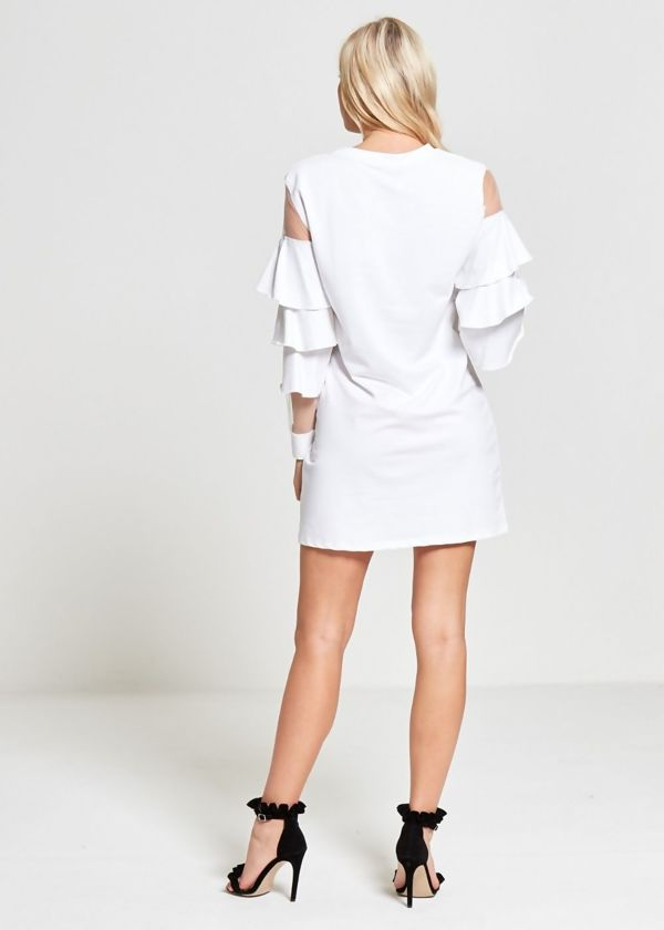 White Frill Lace Mesh Sleeves Dress