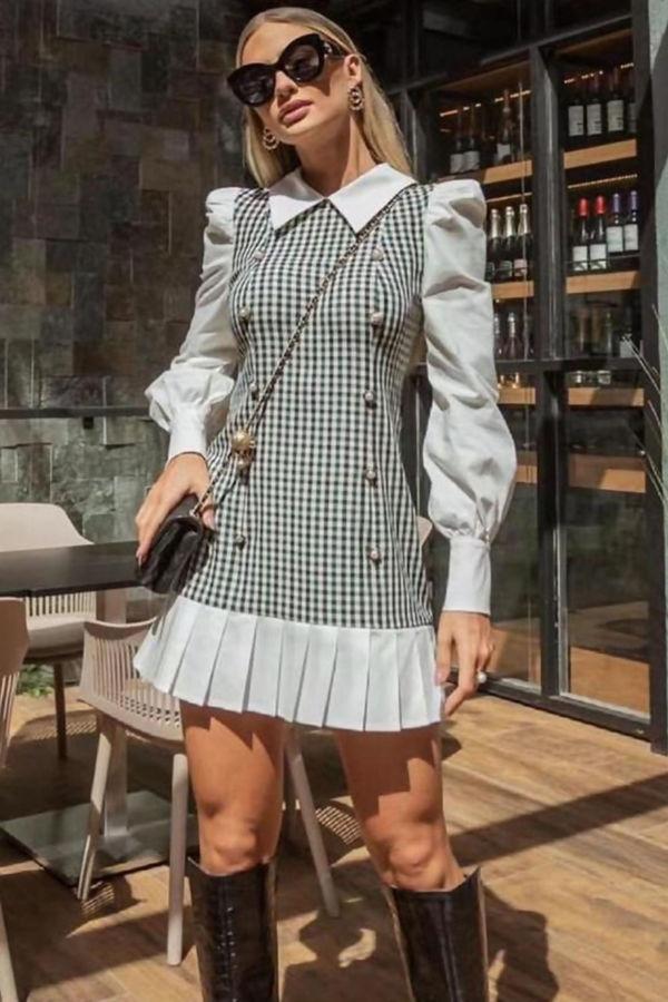 White Gingham Button Shirt Dress