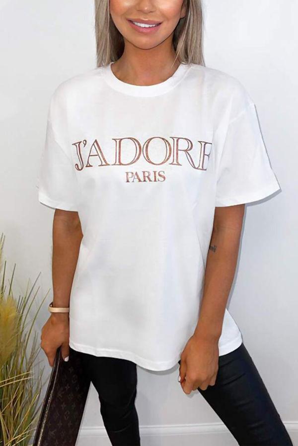 White Jadore Oversized Tee