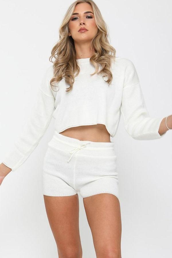 White Knitted Short Lounge Set