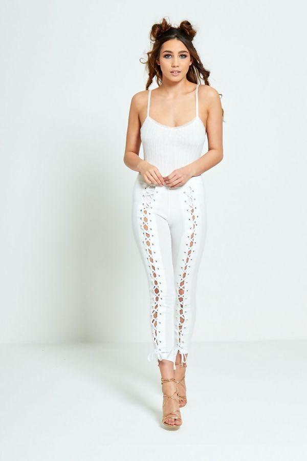 White Lace Up Leggings