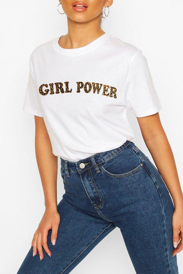 White Leopard Girl Power Slogan T-Shirt