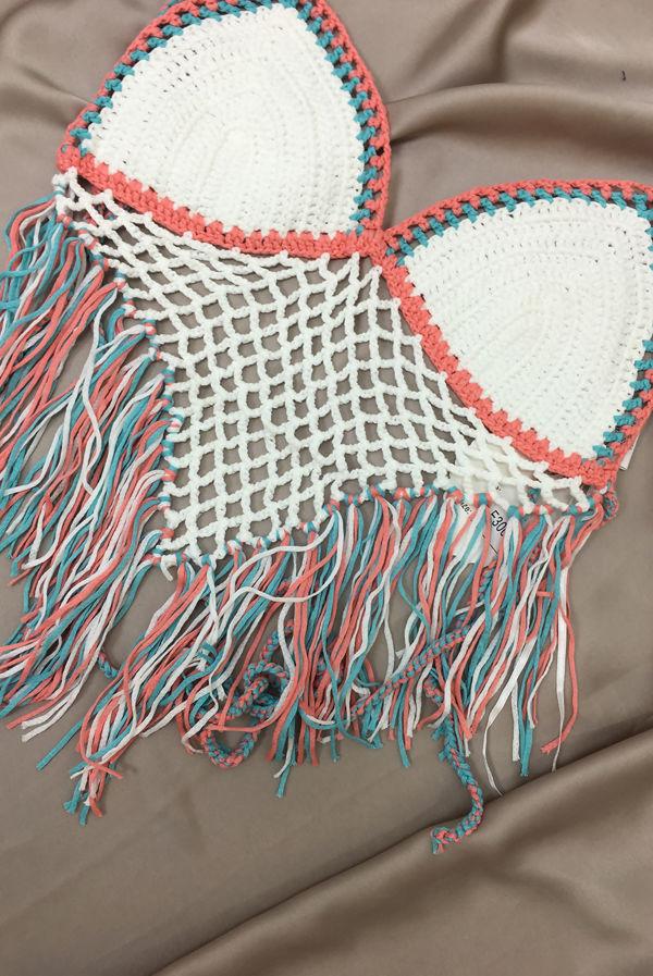 White Multi Crochet Tassel Halter Top