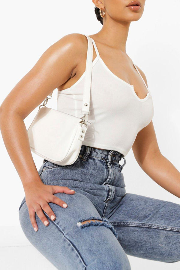 White Notch Detail Ribbed Cami Top
