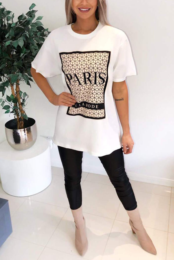 White Paris Printed Oversized Tee Top
