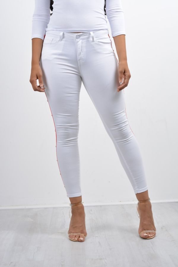 White Pearl Striped Skinny Fit Jeans