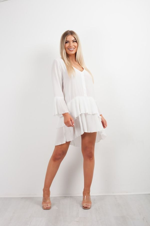 White Pleated Smock Hem Dress