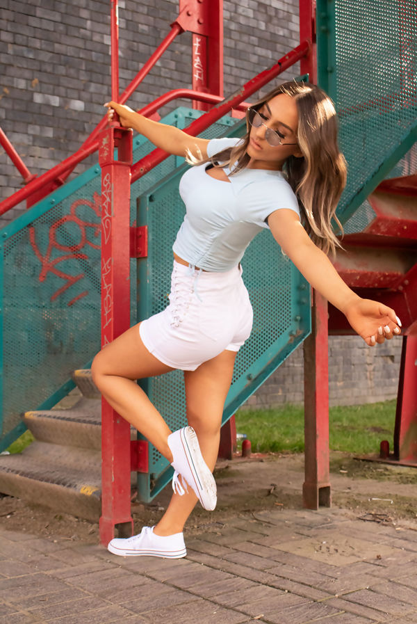 Baby Blue Cut Out Front Ruched Ribbed Top