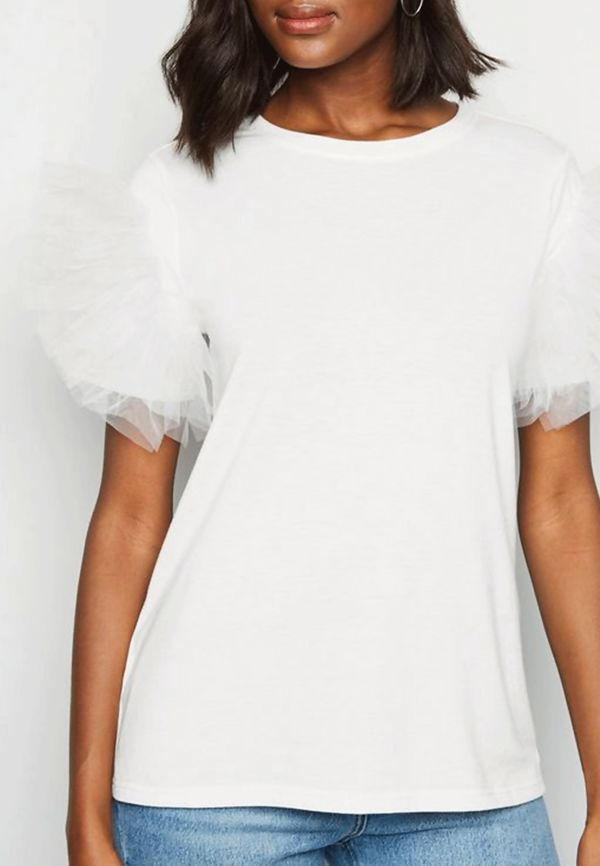 White Tulle Sleeve Tee