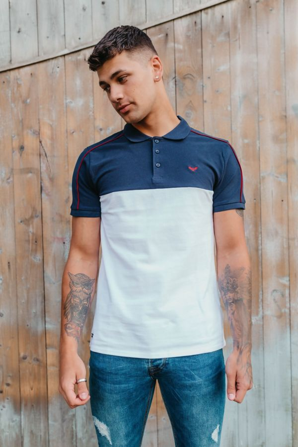 White With Navy Collared Polo Shirt