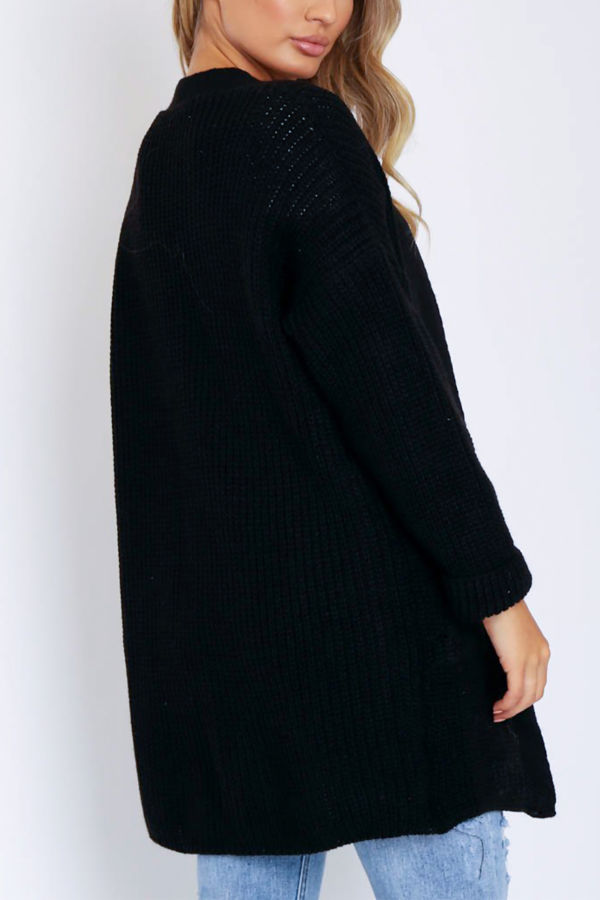 Black Bamboo Comfy Oversize Pocket Cardigan