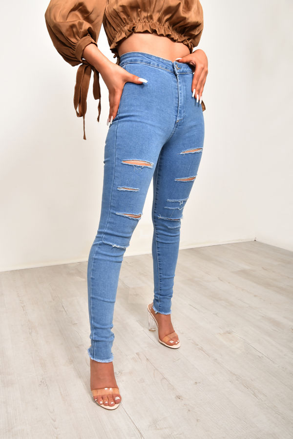 Mid Blue Distressed Disco Skinny Jean