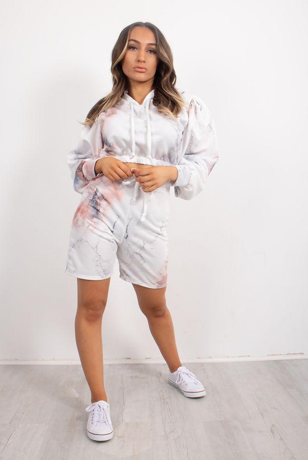 White Marble Print Hooded Short Set