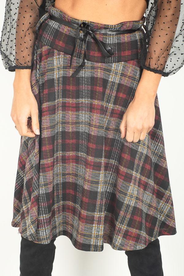 Wine Checked Skirt