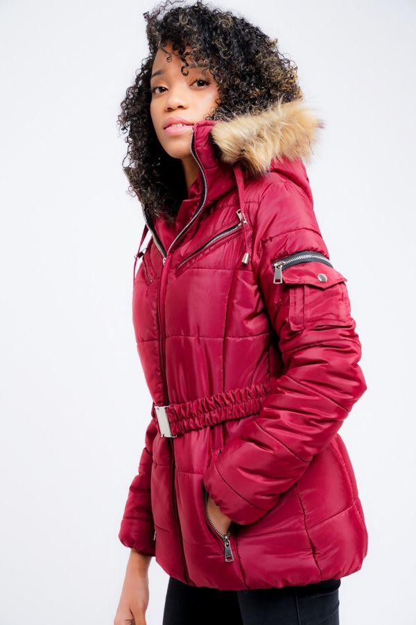 Wine Faux Fur Hooded Belted Jacket
