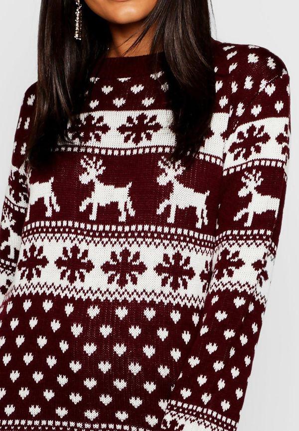 Wine Reindeers and Snow Flake Christmas Jumper