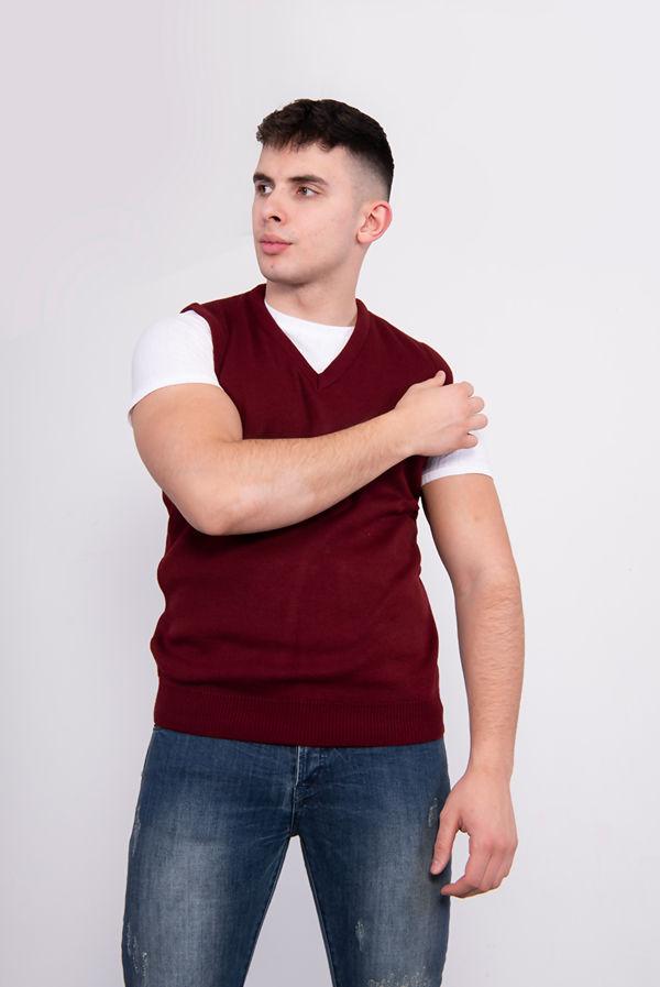 Plus Size Wine V-Neck Sleeveless Knitted Jumper