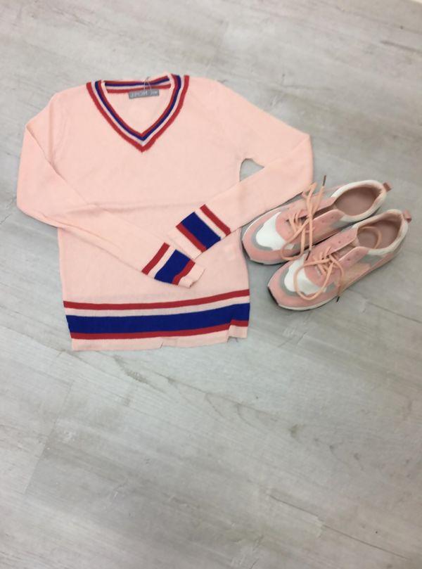 Pink Fine Knit Cricket Jumper