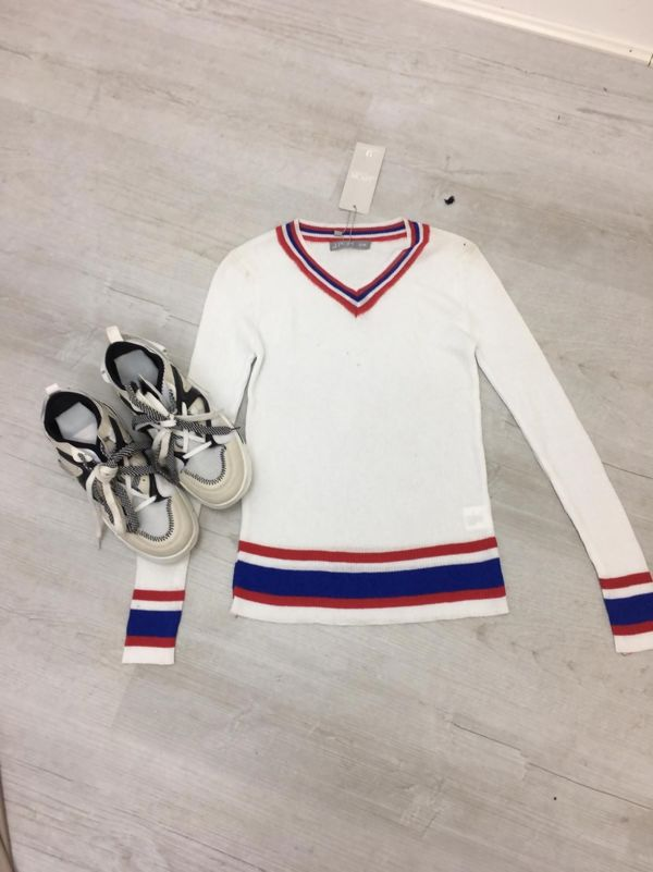 White Fine Knit Cricket Jumper