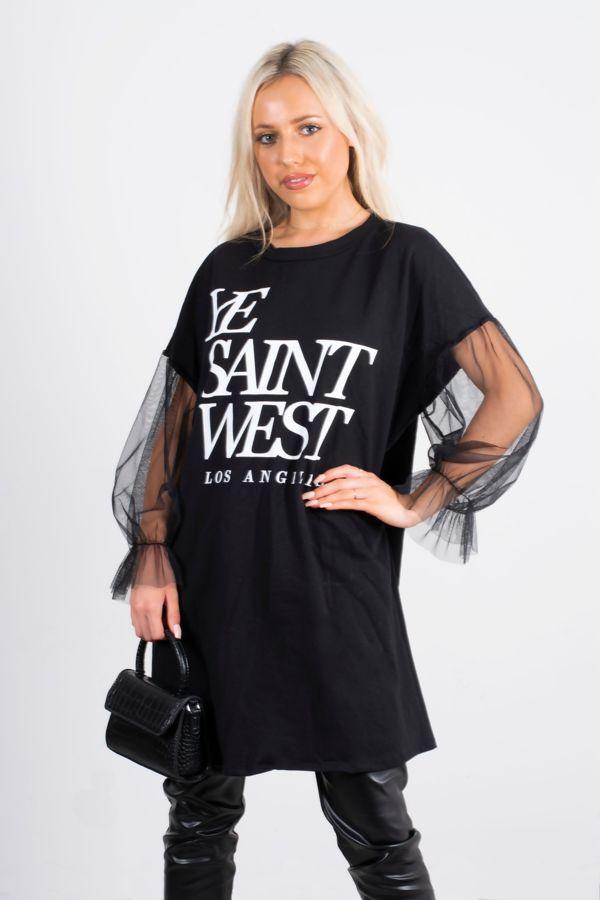 Ye Saint West Mesh Sleeve Sweat Dress
