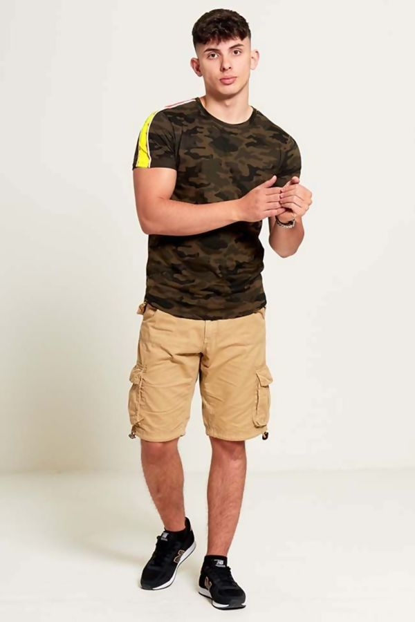Yellow Camo Shoulder Stripe T-Shirt