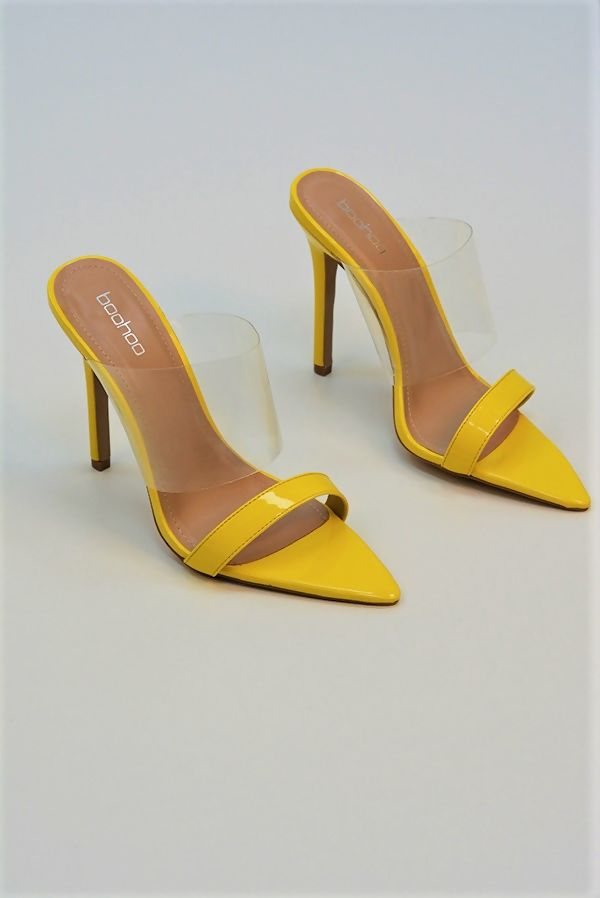 Yellow Clear Panel Block Heel Mules