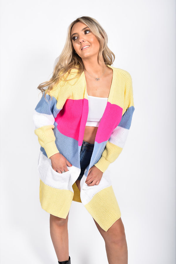 Yellow Colour Block Longline Cardigan
