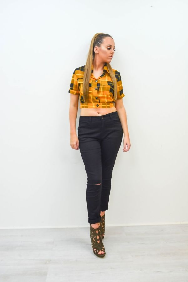 Yellow Crop Check Shirt