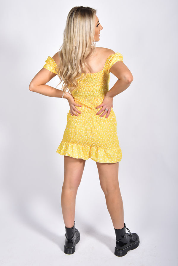 Yellow Ditsy Floral Knot Front Shirred Dress