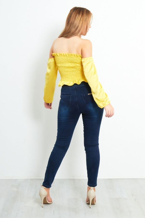 Yellow Elasticated Satin Bardot Top